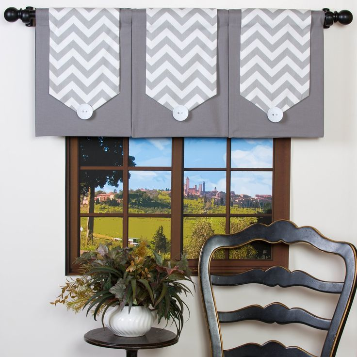 Gray And White Chevron Valance