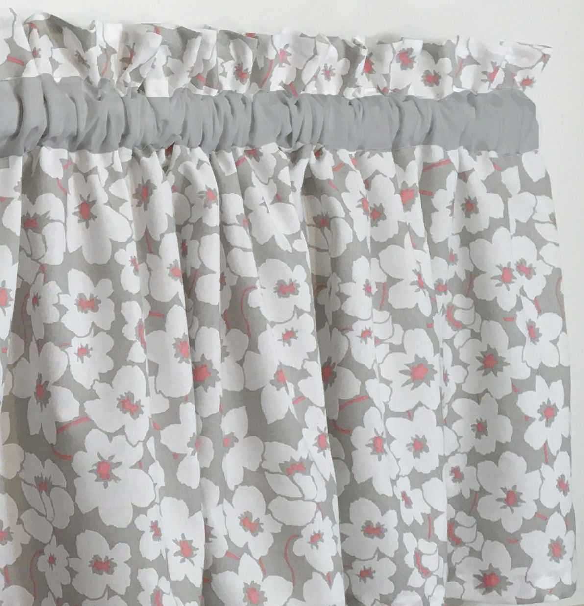 Gray And White Valance Curtain