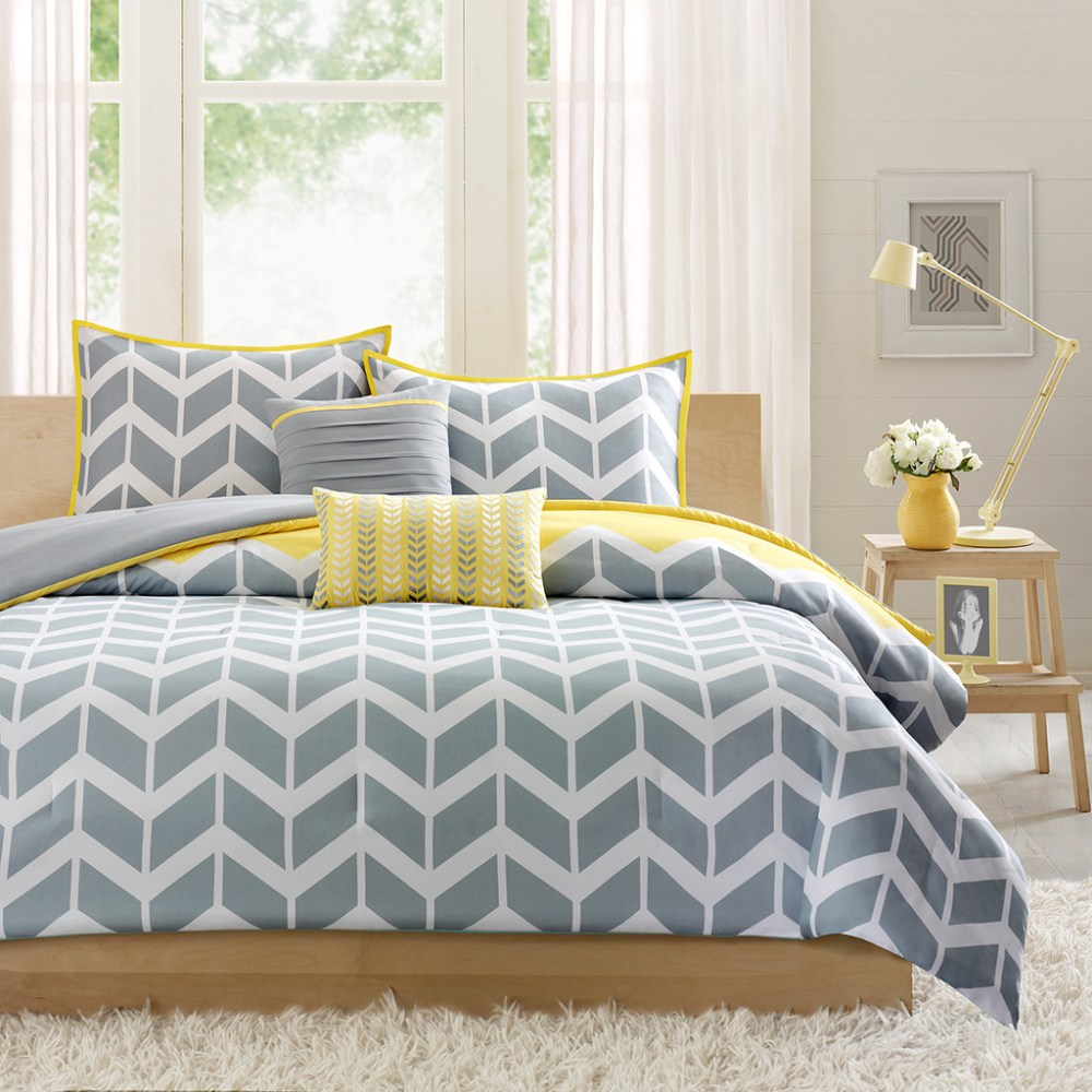 Gray White And Yellow Comforter Set