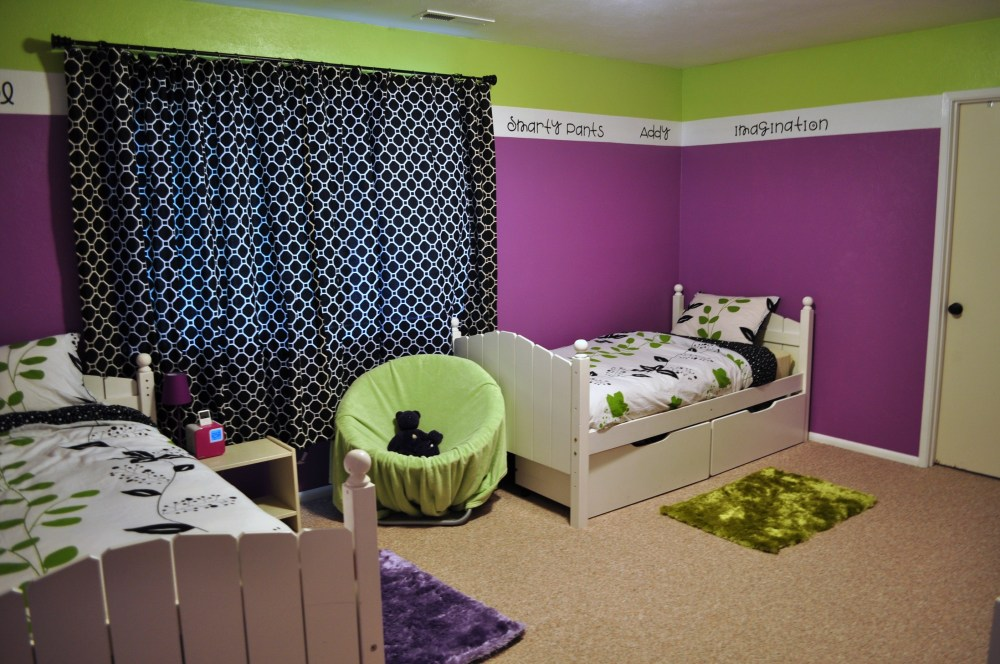 Green And Pink Kids Bedroom
