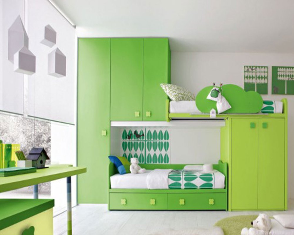 Green Kids Bedroom