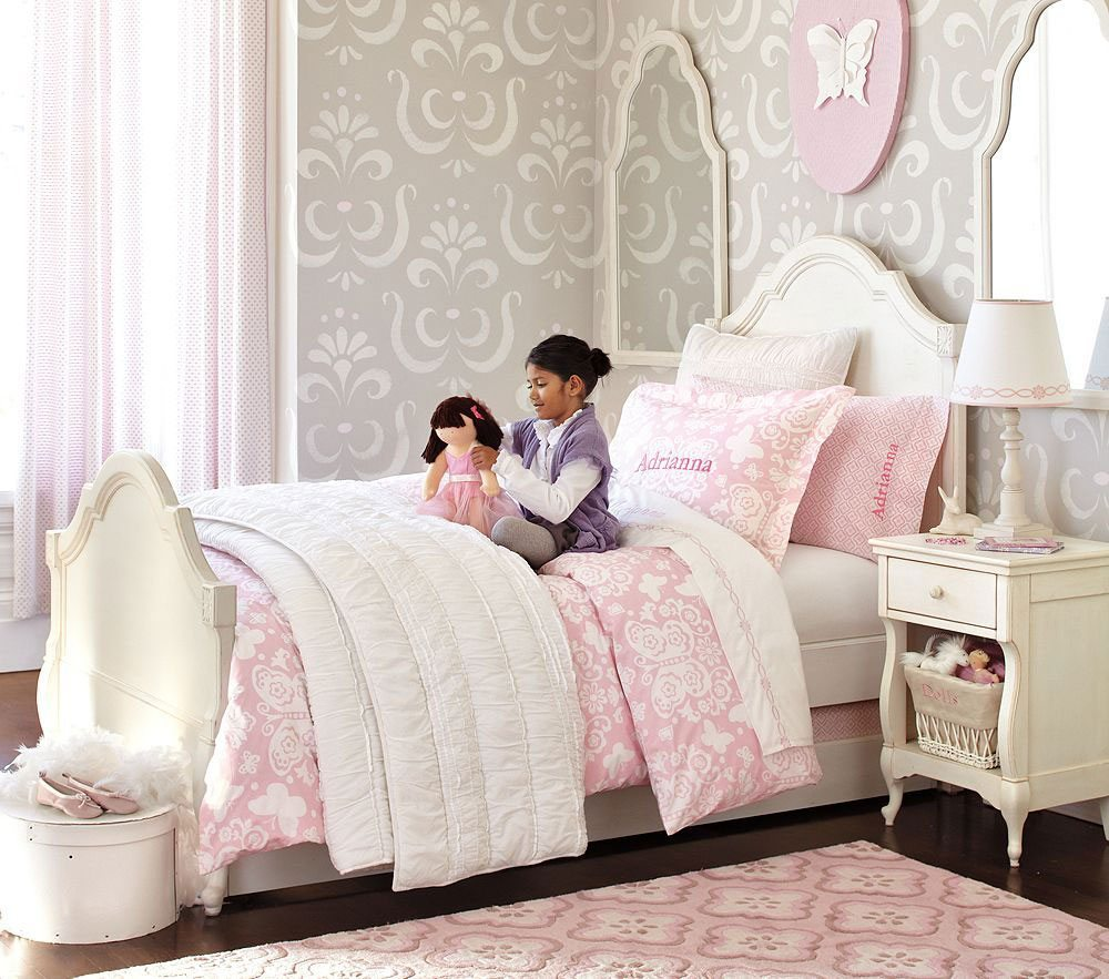 Grey And Pink Kids Bedroom