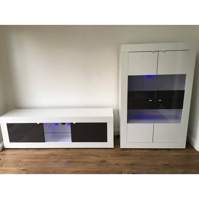 Grey And White Tv Stand