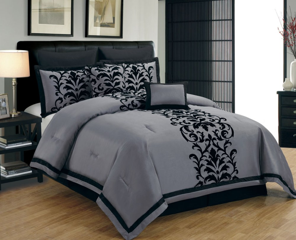 Grey Damask Comforter Set