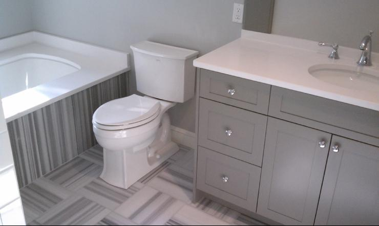 Grey Painted Bathroom Cabinets