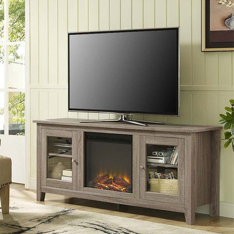 Grey Tv Stand With Fireplace