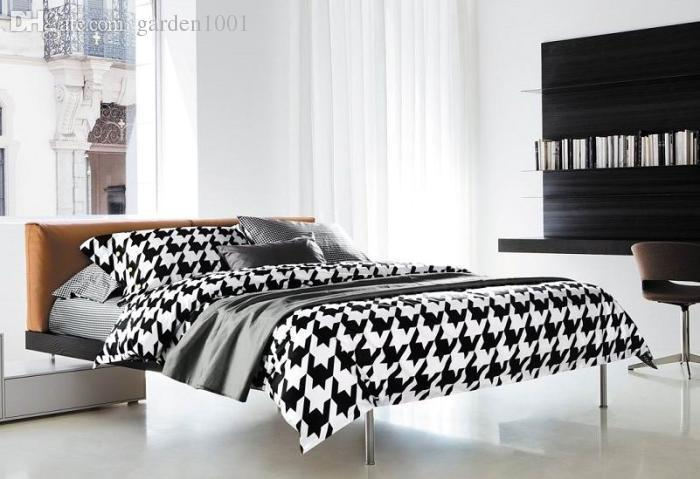 Houndstooth Comforter Set Black And White