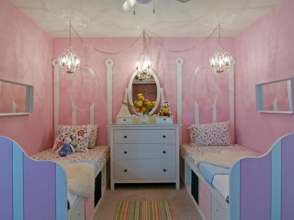 Kids Bedroom For Twin Girls Pink