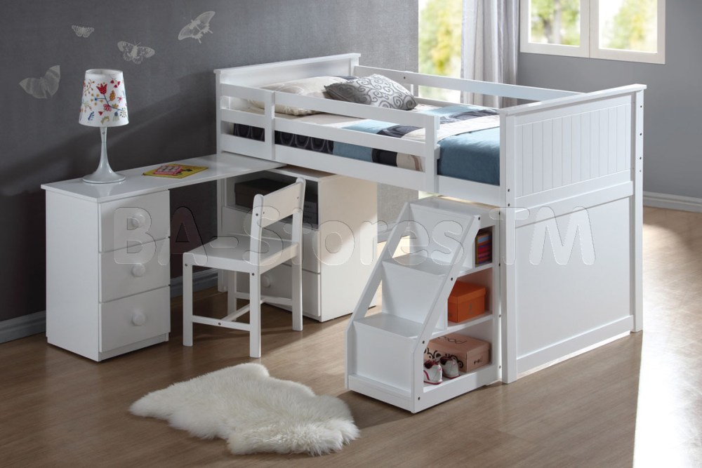 Kids Bunk Bed With Desk Under