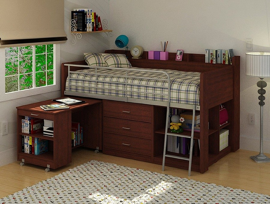 Kids Metal Loft Bed With Desk