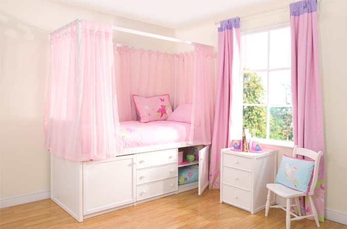 Kids White Four Poster Bed