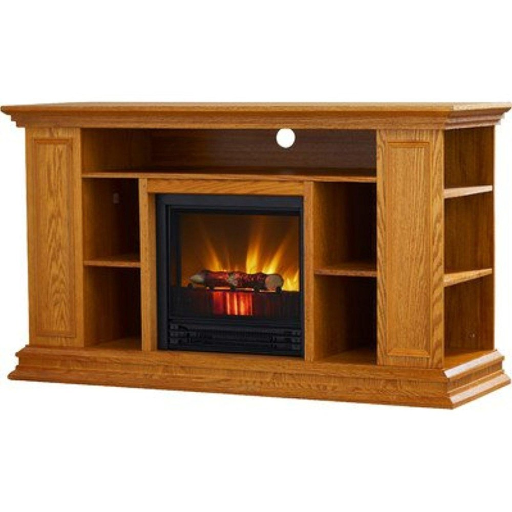 Light Oak Tv Stand With Fireplace