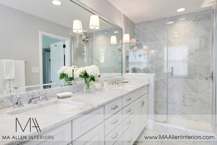 Master Bathroom White Cabinets