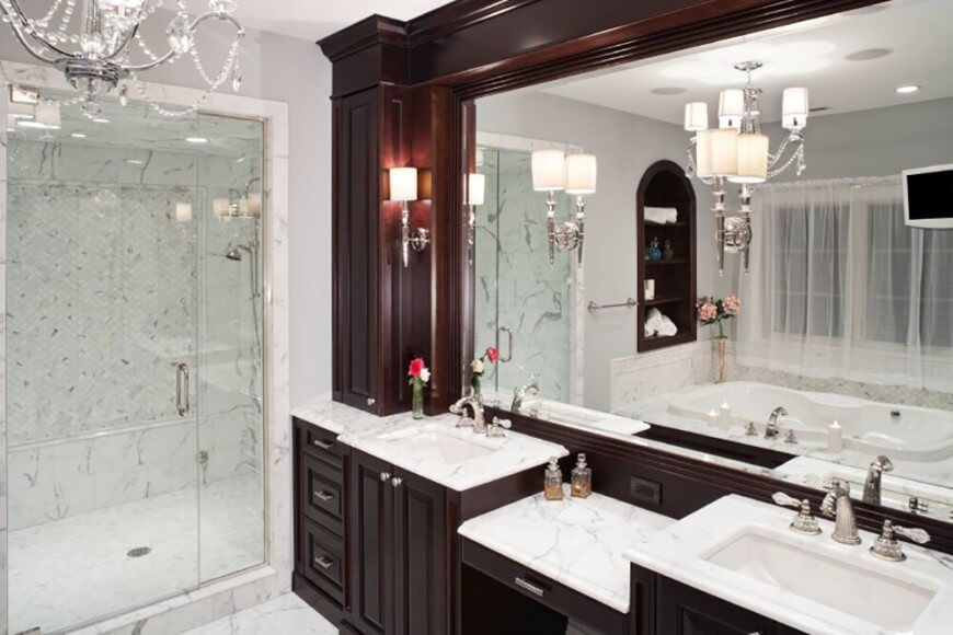 Master Bathroom With Dark Cabinets