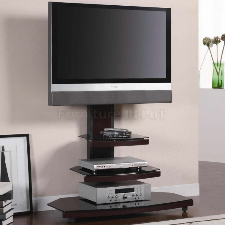 Metal And Glass Tv Stand With Mount