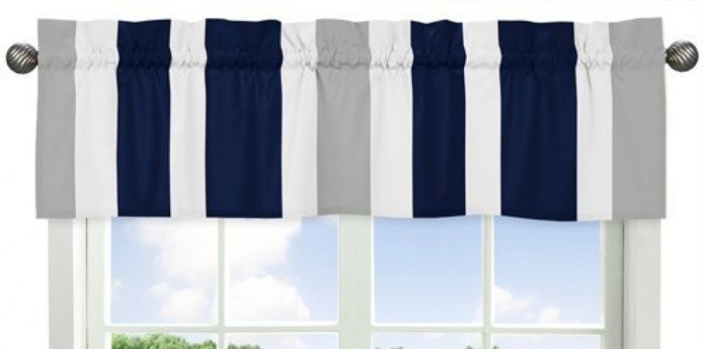 Navy And White Window Valance