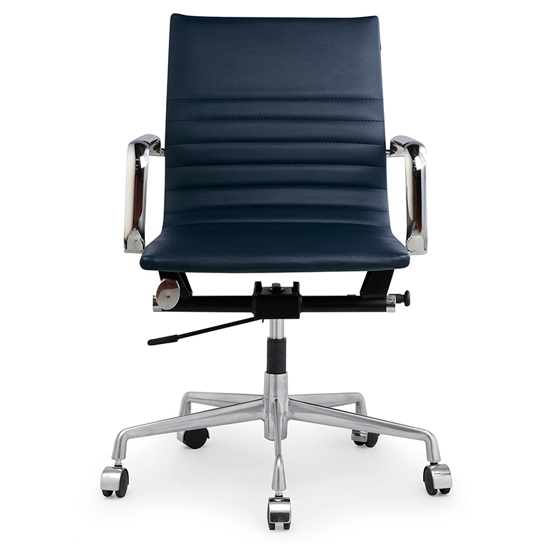 Navy Leather Office Chair