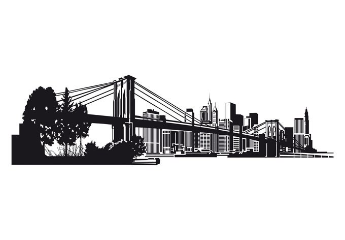 New York Skyline Vinyl Wall Decal