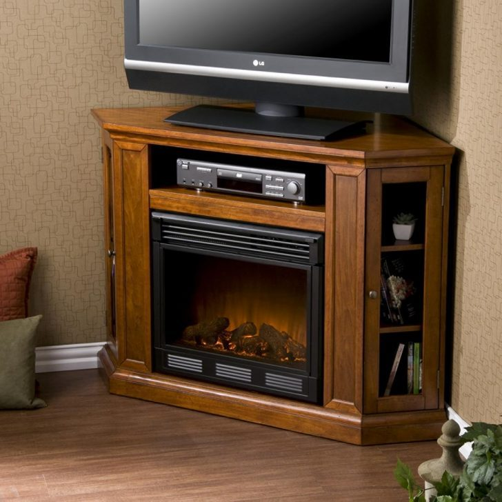 Oak Corner Tv Stand With Fireplace