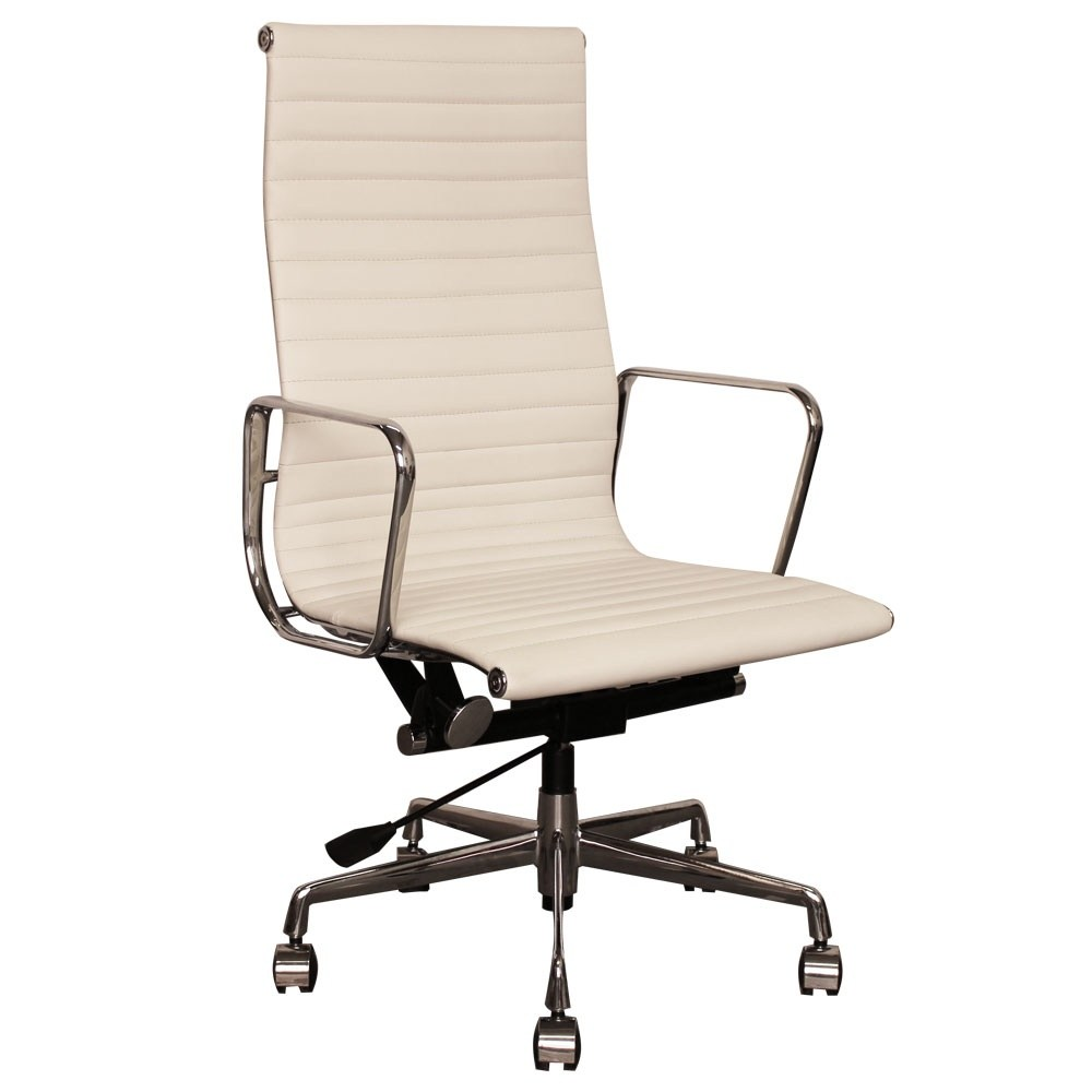 Off White Leather Office Chair