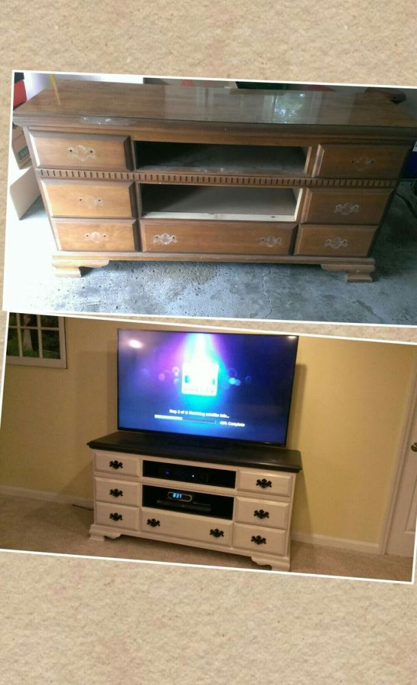 Old Dresser Made Into Tv Stand