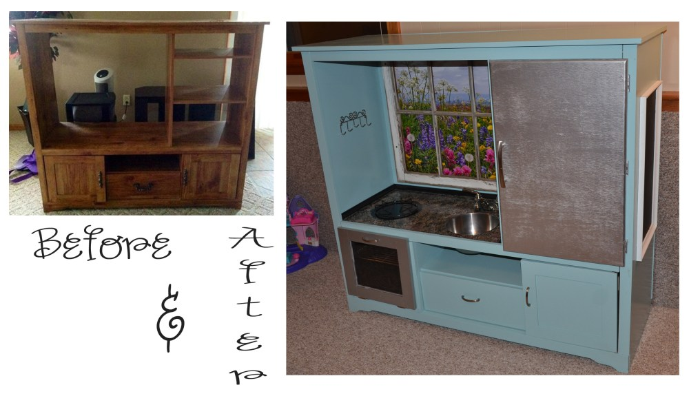 Old Tv Stand Turned Into Play Kitchen
