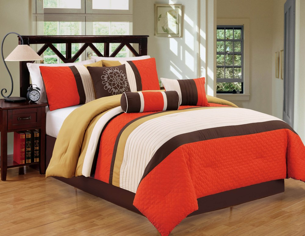 Orange And Black Comforter Set