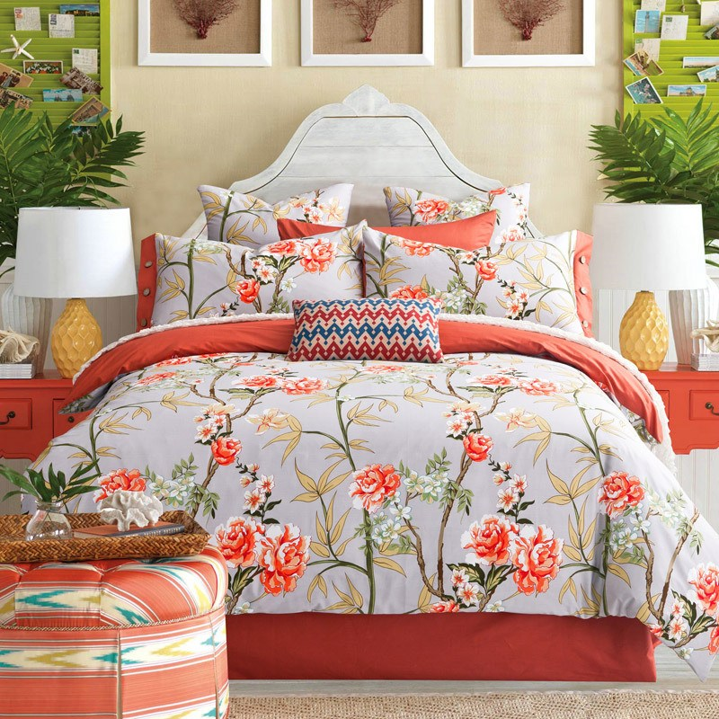 Orange And Blue Comforter Set