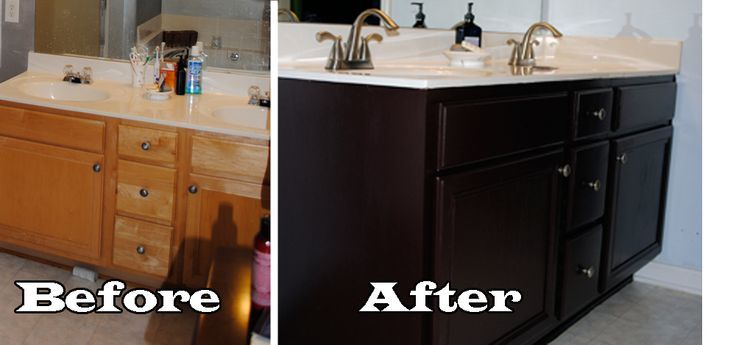 Painted Brown Bathroom Cabinets