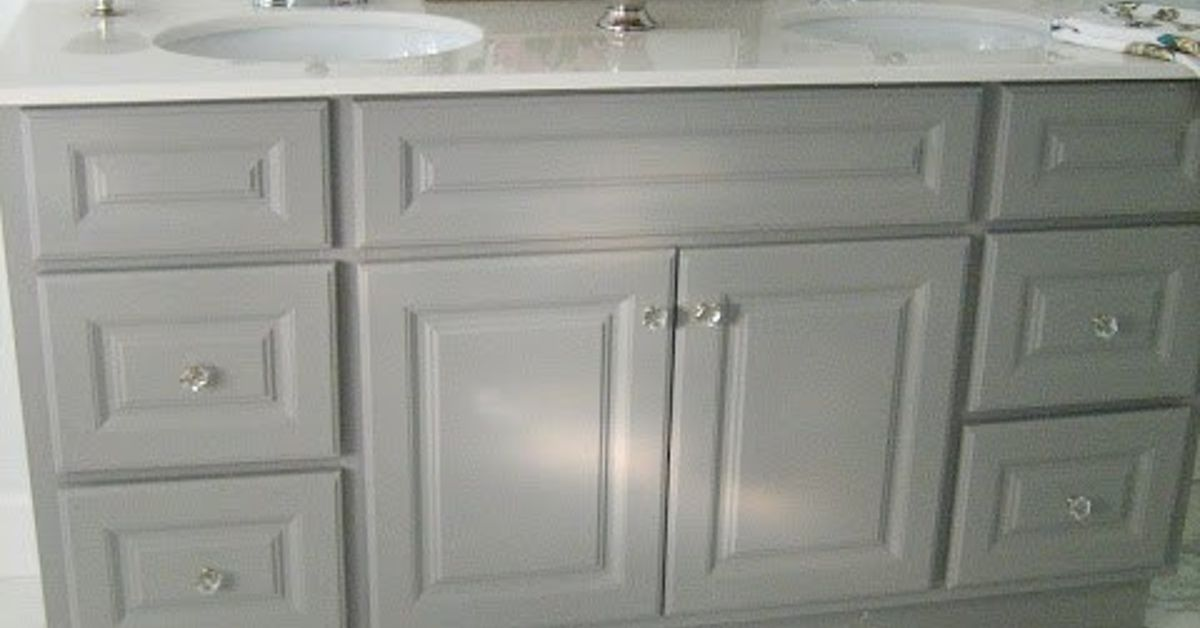 Painted Gray Bathroom Cabinet