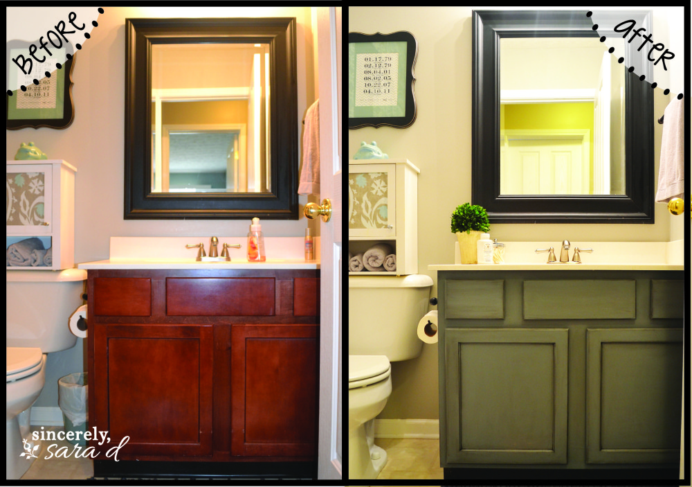 Painting Bathroom Cabinets Before And After