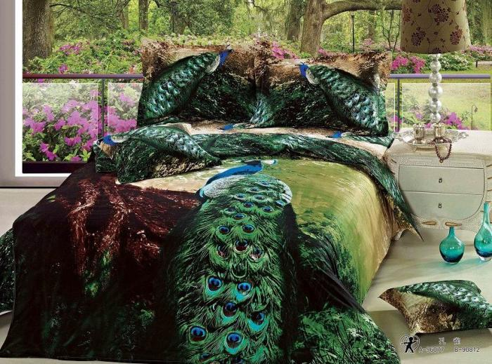Peacock Feather Comforter Set