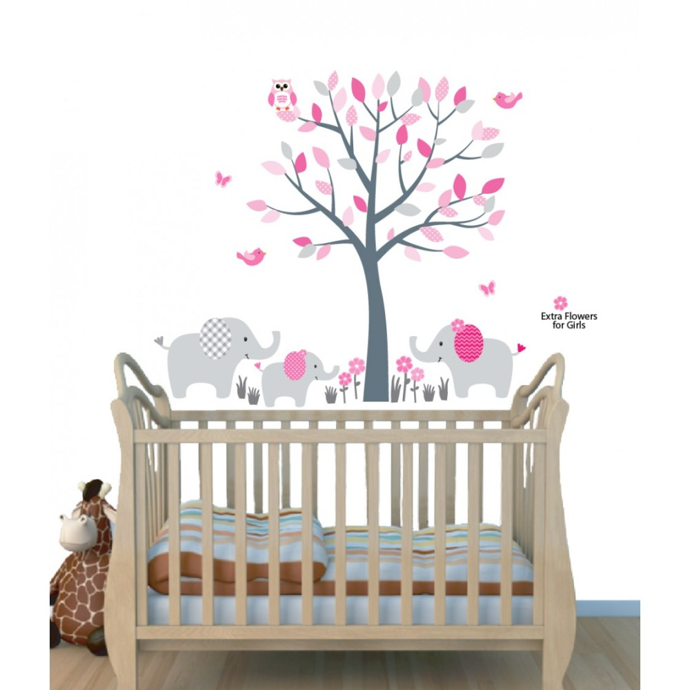 Pink Elephant Wall Decals