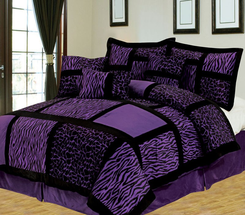 Purple And Black Comforter Set