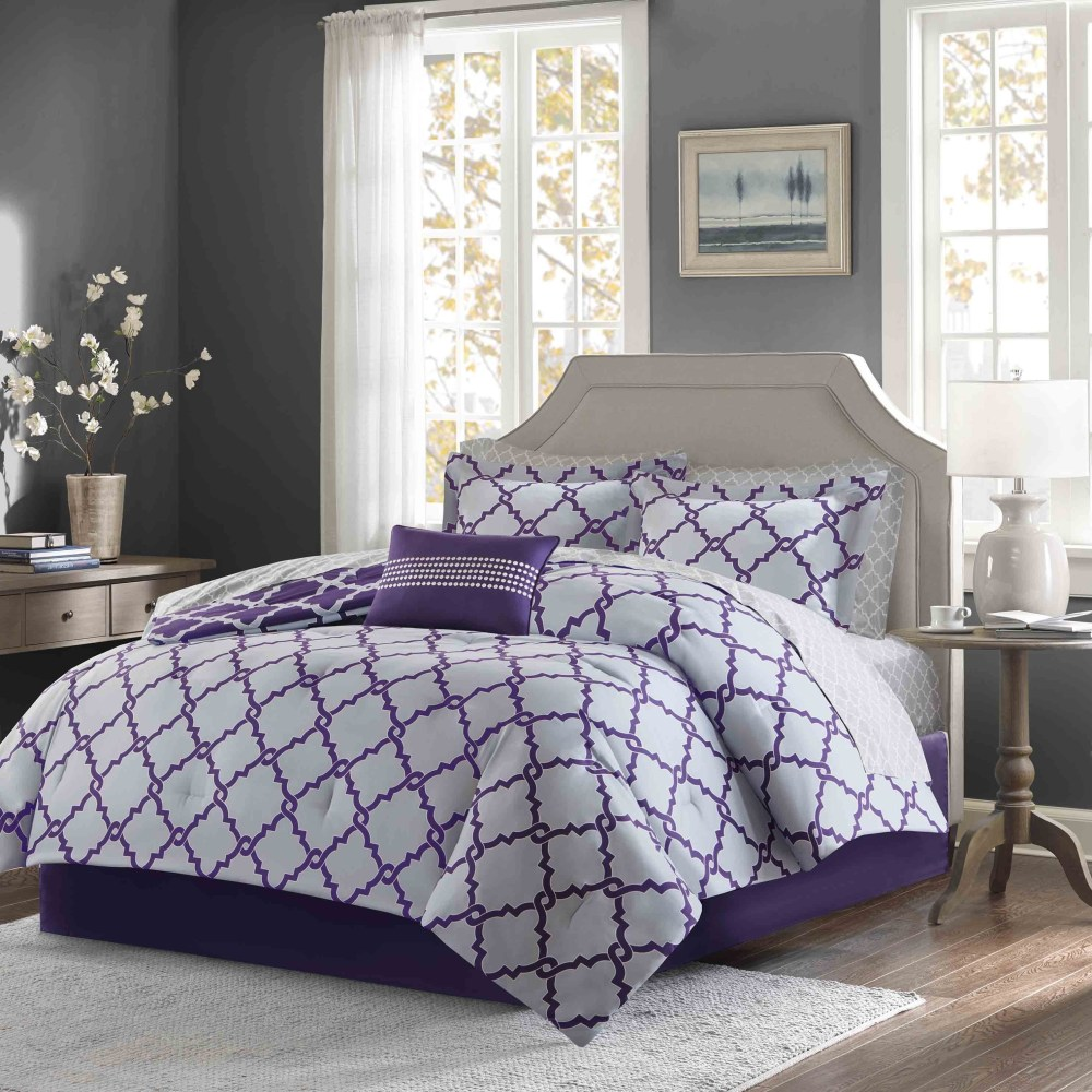 Purple And Gray Comforter Set