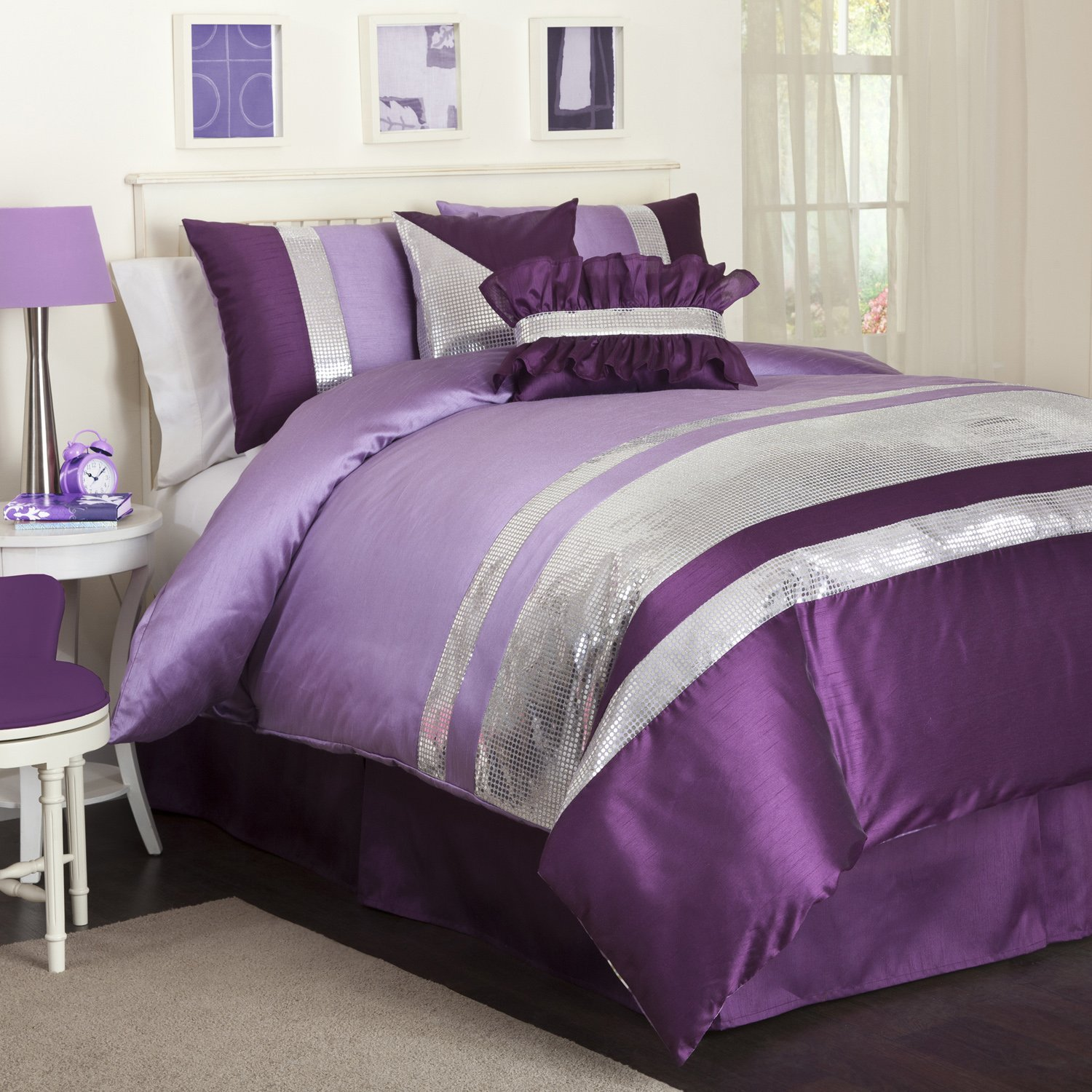 Purple And Grey Comforter Sets