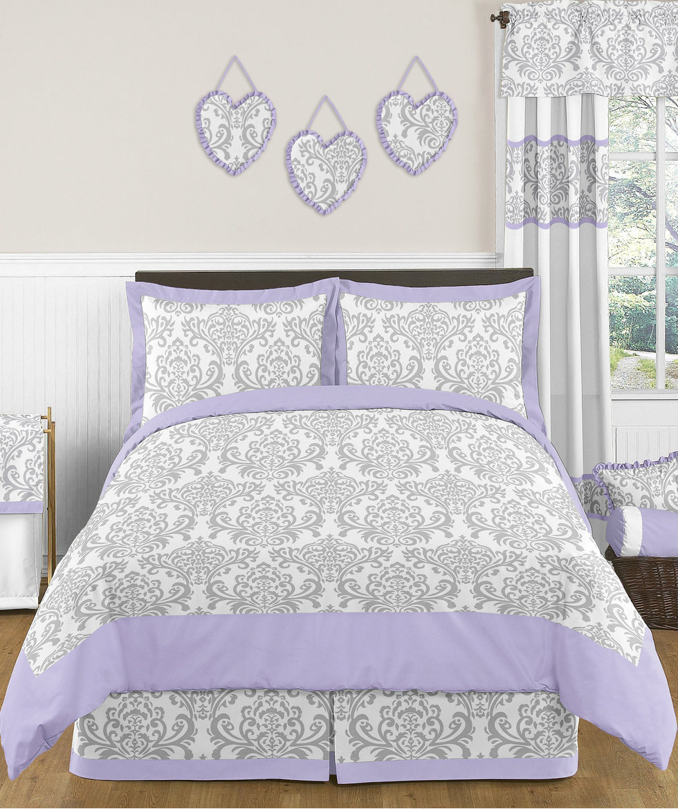 Purple And Grey Kids Bedding