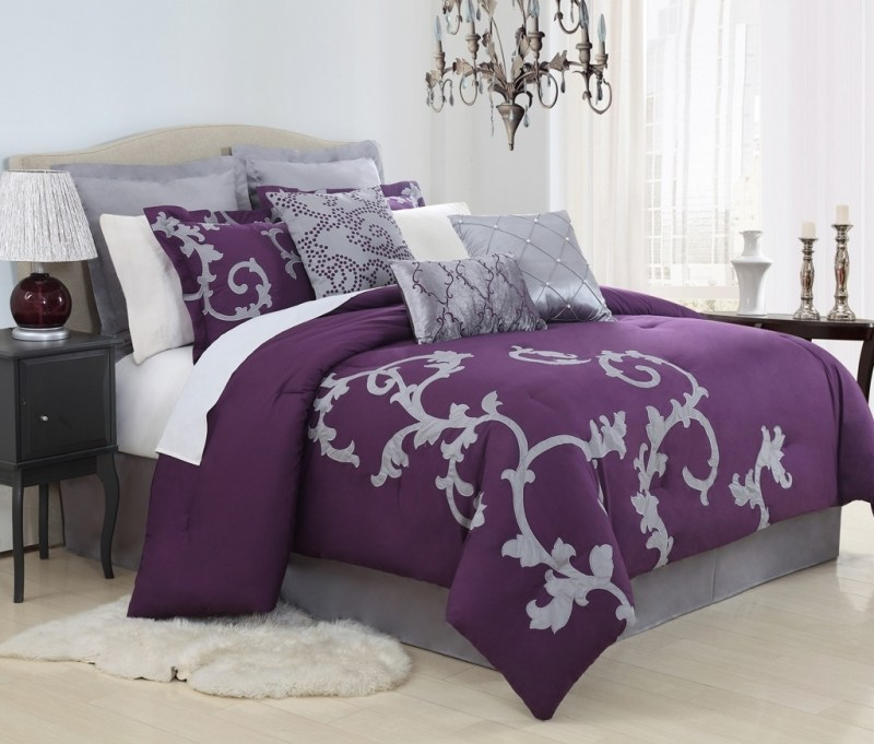Purple And Silver Comforter Sets