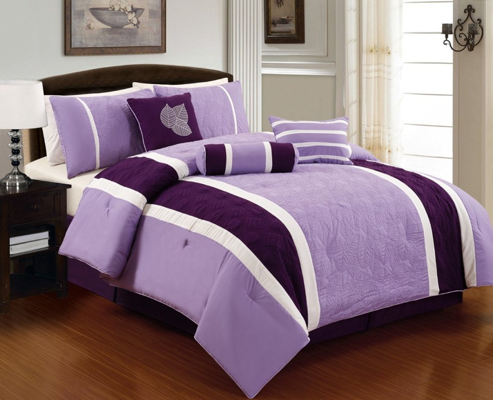 Purple And White Comforter Set