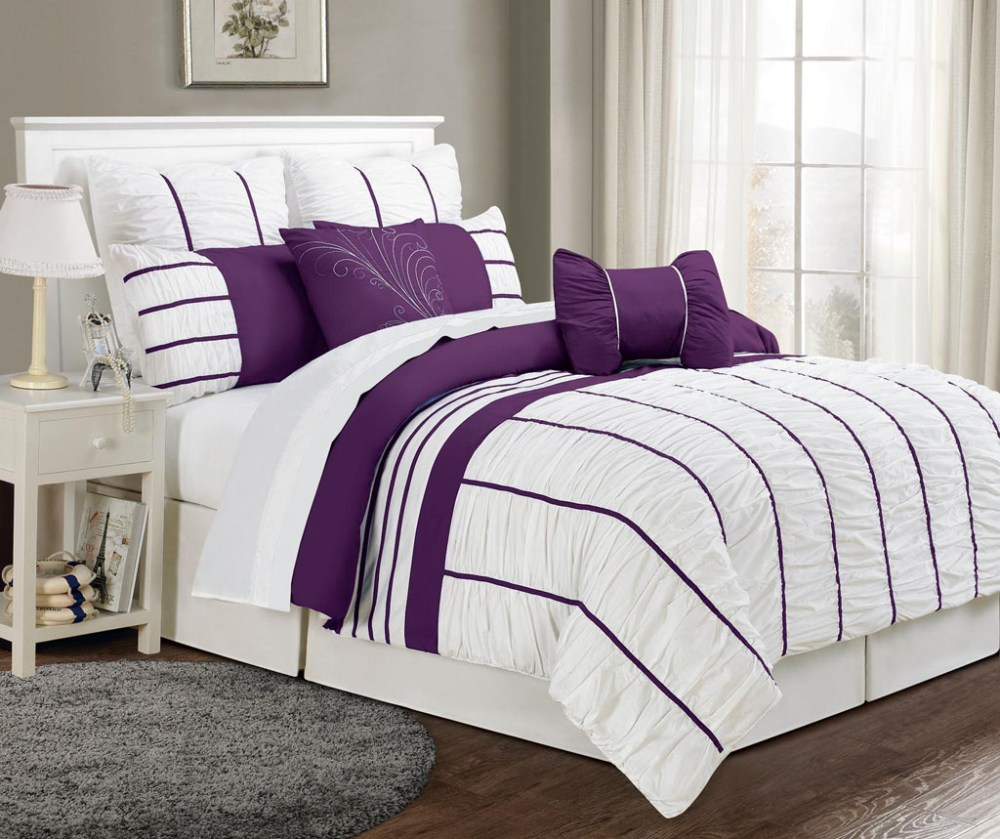 Purple And White Comforter Sets Queen
