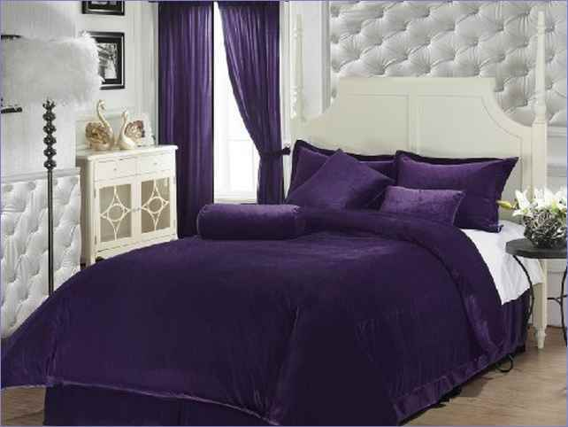 Purple Velvet Comforter Sets Queen