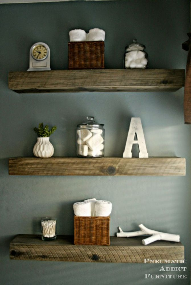 Reclaimed Floating Wood Shelves