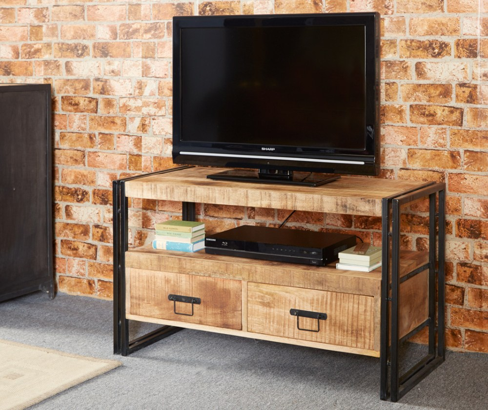 Reclaimed Wood And Metal Tv Stand