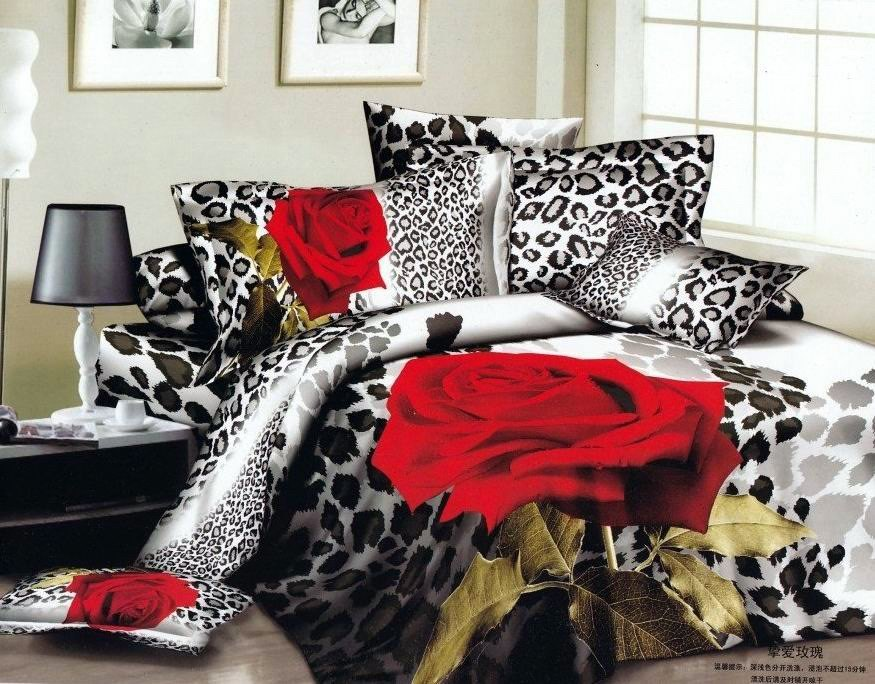 Red And Black Queen Size Comforter Set