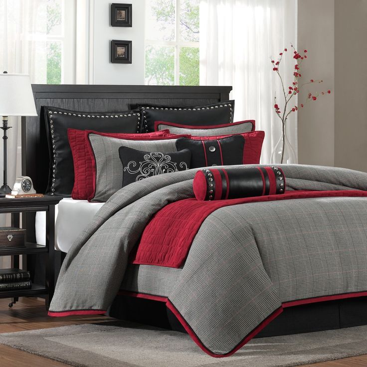 Red And Grey Comforter Set