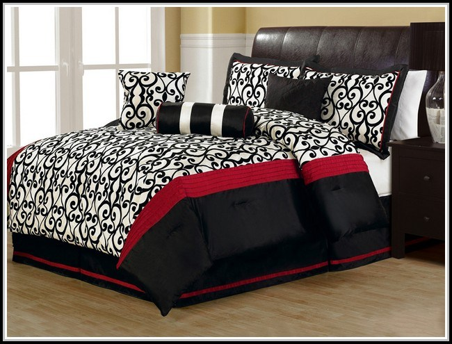 Red Black White Comforter Set