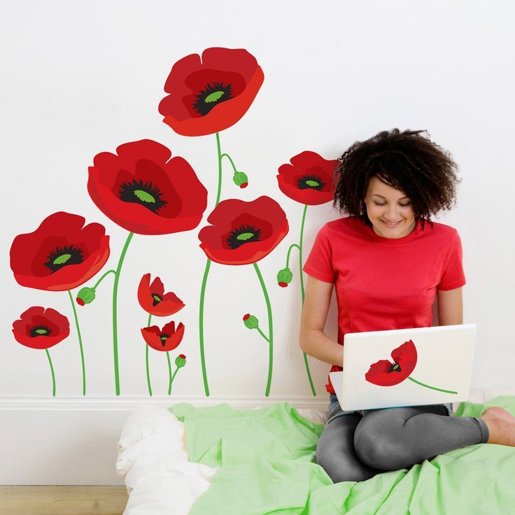 Red Poppy Wall Decals