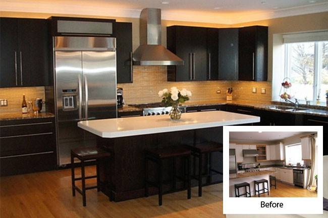 Refacing Bathroom Cabinets Before After