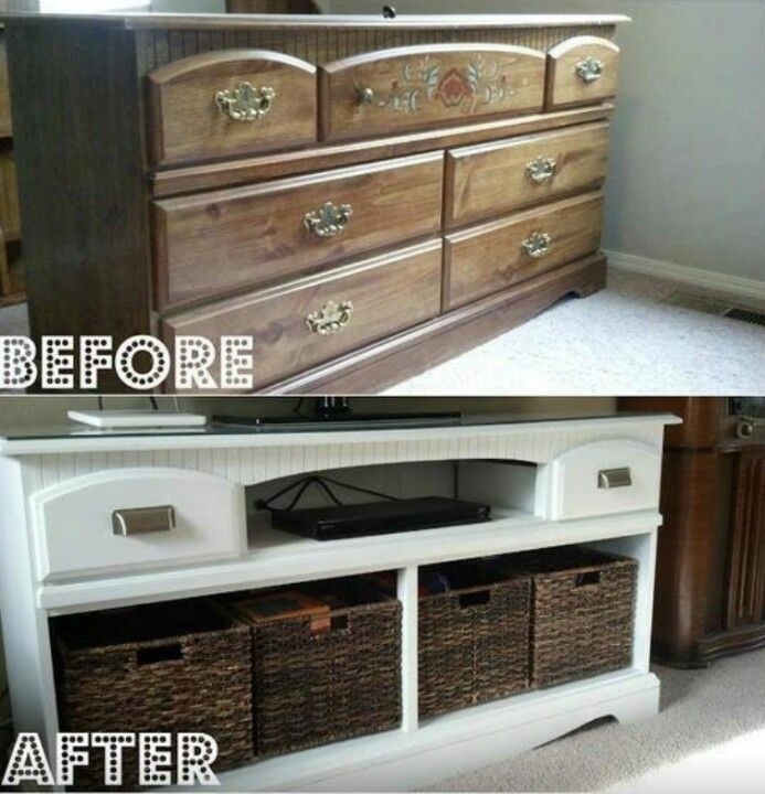 Refurbished Dresser Into Tv Stand