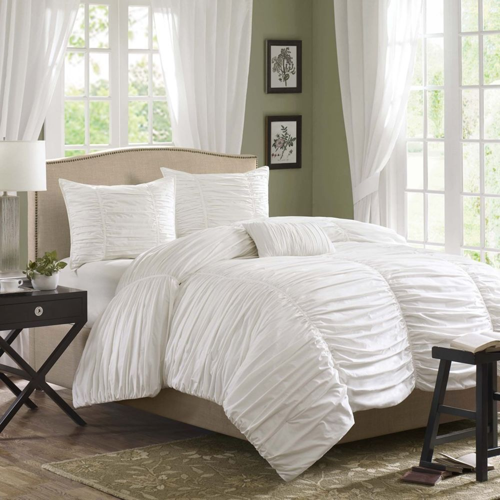 Ruched Comforter Set White
